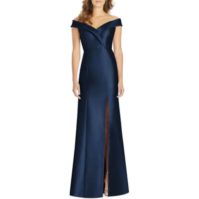 Alfred Sung Portrait Collar Satin Gown, Blue