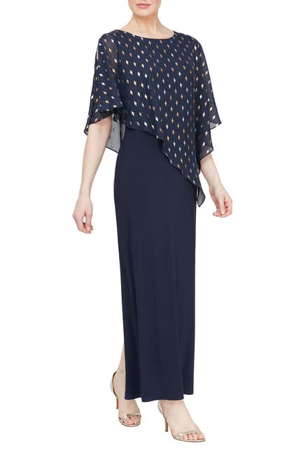 Image of SLNY Metallic Geo Printed Chiffon Overlay Maxi Dress