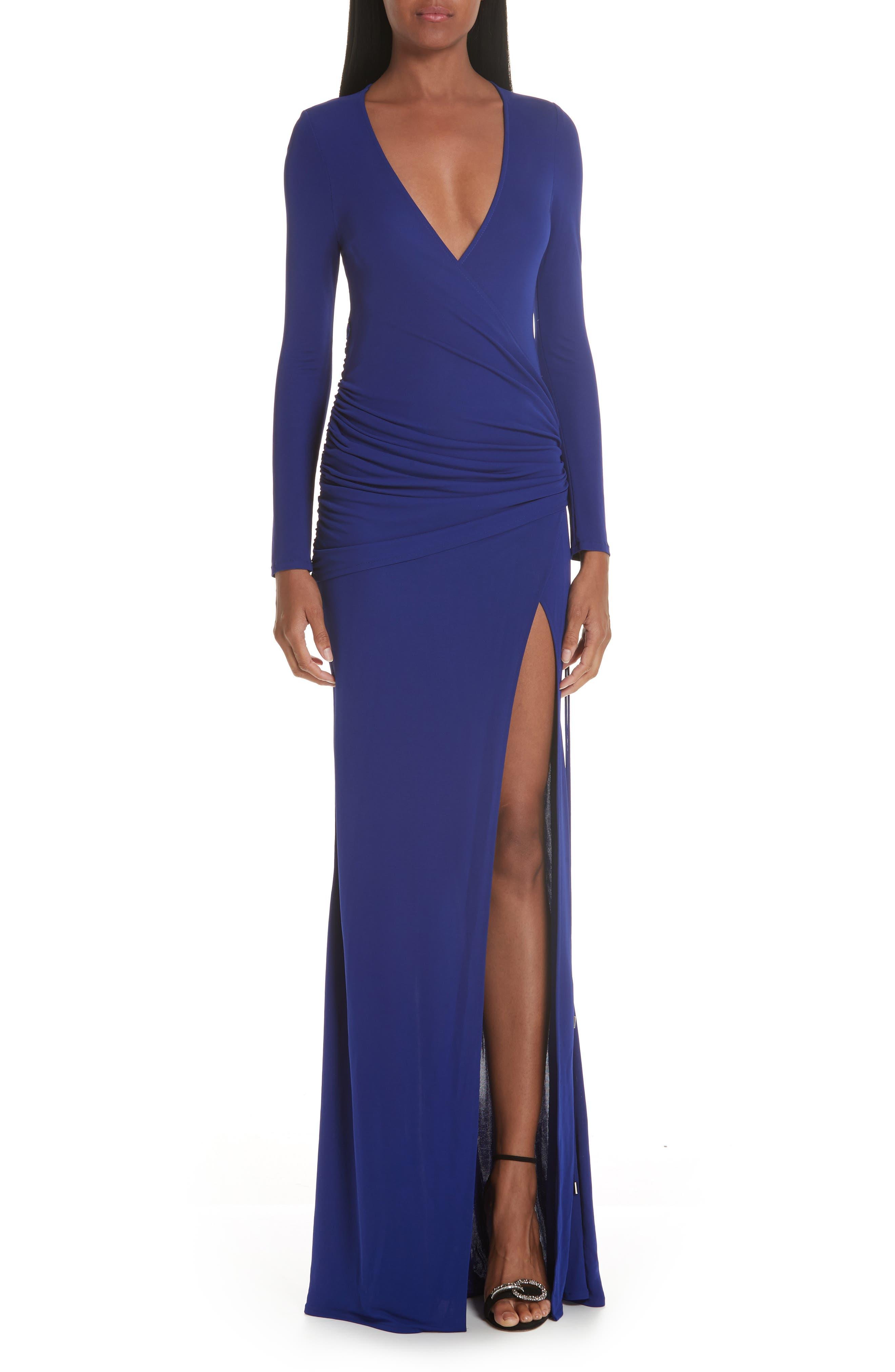 Galvan Slit Hem Ruched Jersey Maxi Dress, Blue