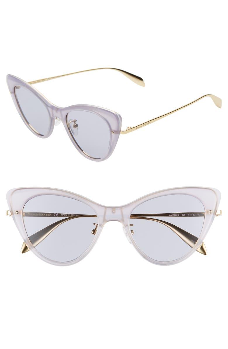 ALEXANDER MCQUEEN 51mm Cat Eye Sunglasses, Main, color, OPAL LAVENDER/ VIOLET