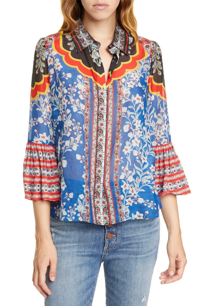 Rana Ruffle Sleeve Cotton & Silk Blouse by Alice + Olivia