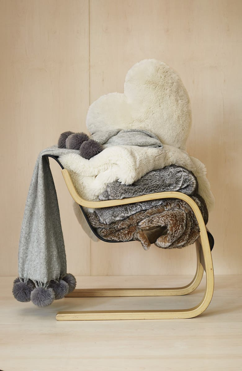 NORDSTROM AT HOME Brushed Throw with Pompoms, Main, color, 020