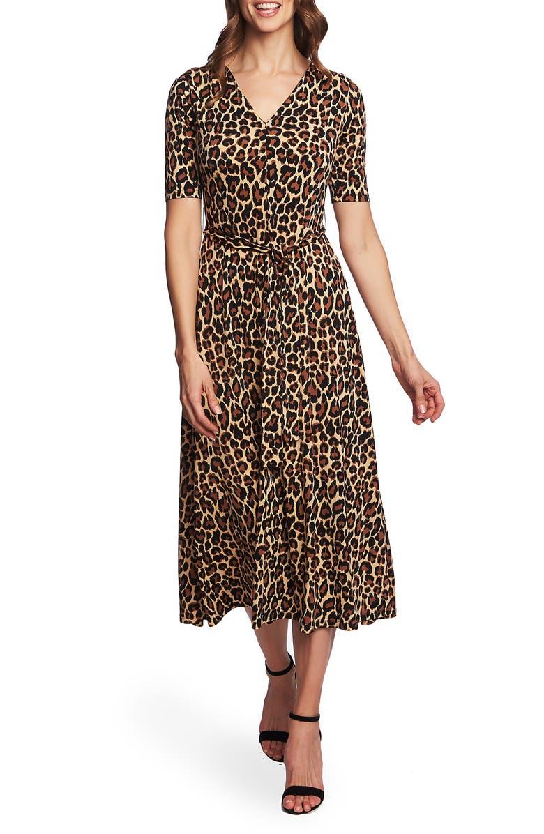 CHAUS Lisa Print Knit Dress, Main, color, RICH BLACK