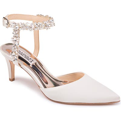 Badgley Mischka Esmeralda Embellished Pointed Toe Pump- Ivory