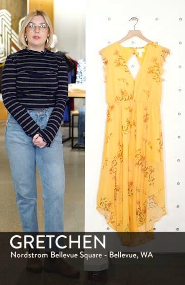Floral Plunge Neck Handkerchief Hem Dress, sales video thumbnail