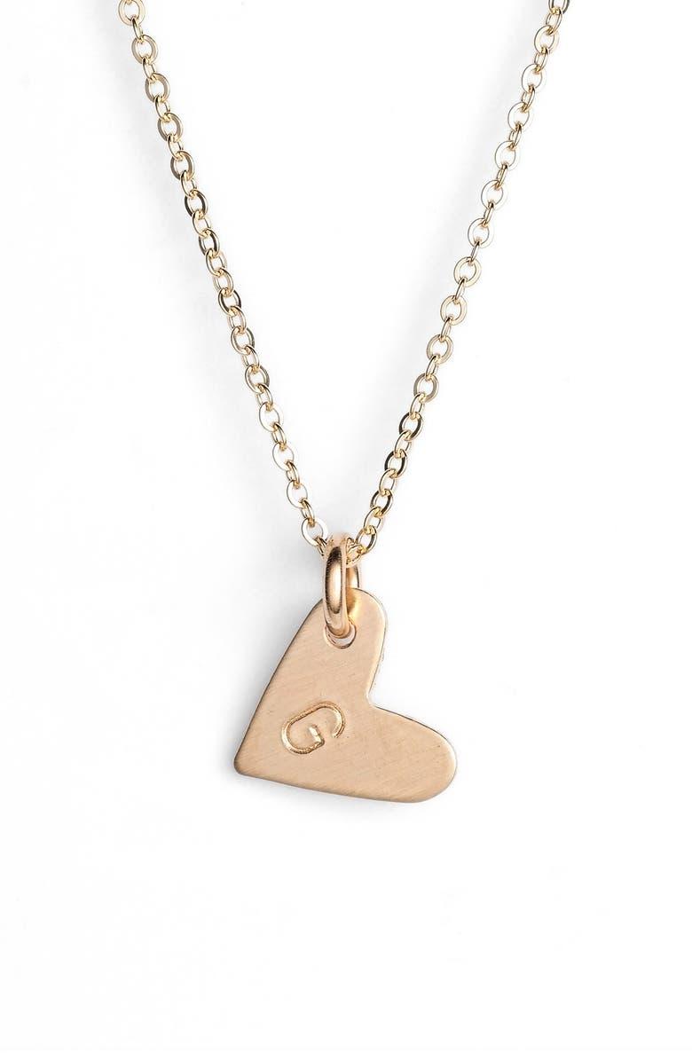 NASHELLE 14k-Gold Fill Initial Mini Heart Pendant Necklace, Main, color, GOLD/ G