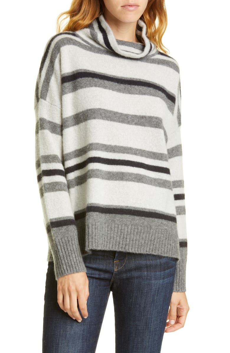 NORDSTROM SIGNATURE Oversize Stripe Turtleneck Cashmere Sweater, Main, color, GREY- BLACK JOANNA STRIPE