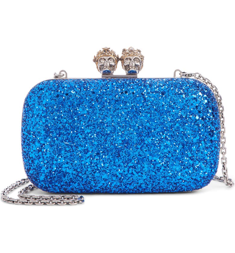ALEXANDER MCQUEEN Glitter Knuckle Box Clutch, Main, color, NORTH BLUE