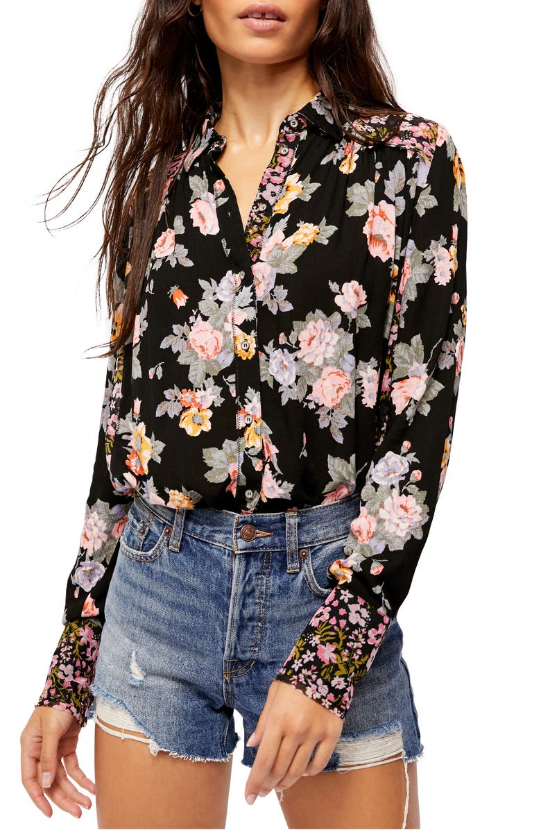 FREE PEOPLE Hold On to Me Floral Long Sleeve Blouse, Main, color, 001
