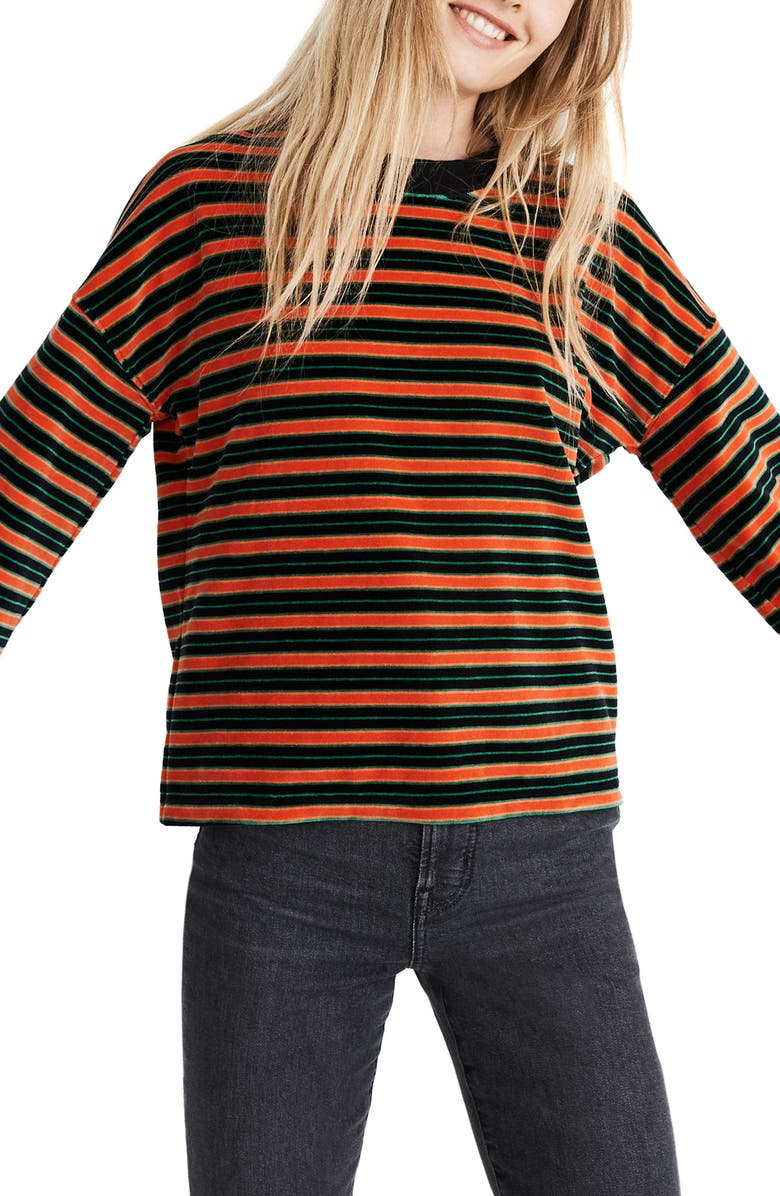 MADEWELL Velour Wide Sleeve Mock Neck Top, Main, color, TRUE BLACK MUFFIN STRIPE