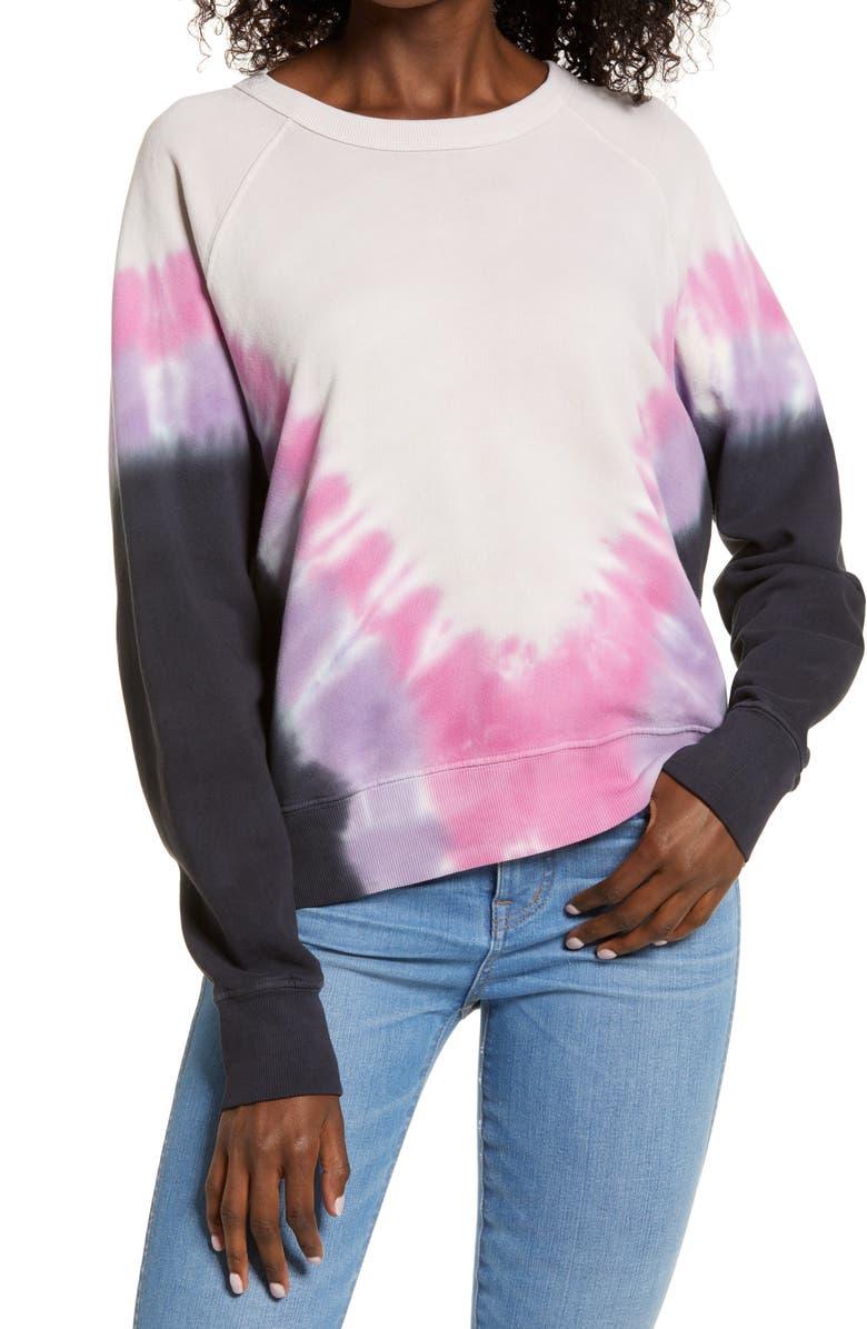 DAYDREAMER Flying Varsity Crewneck Sweatshirt, Main, color, VIOLET COMBO TIE DYE