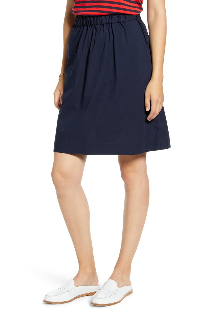1901 Stretch Cotton Skirt, Main, color, NAVY SAPPHIRE