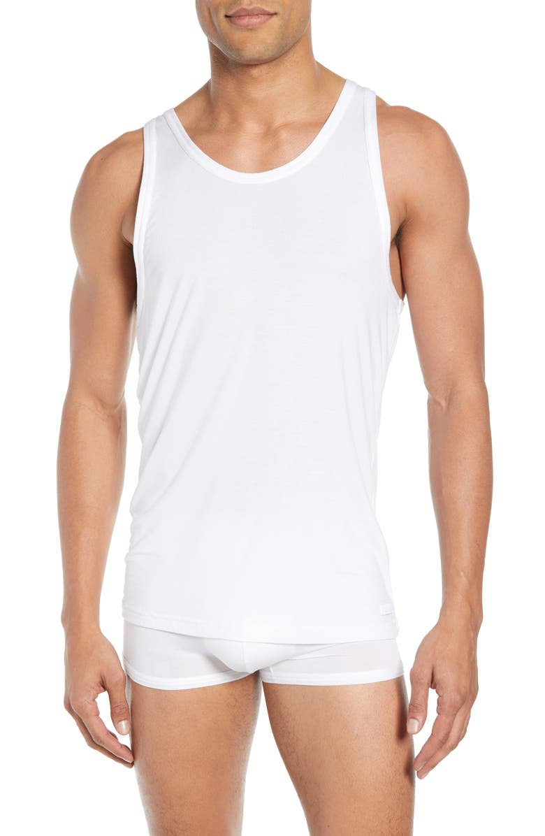 CALVIN KLEIN Ultrasoft Stretch Modal Solid Tank, Main, color, WHITE