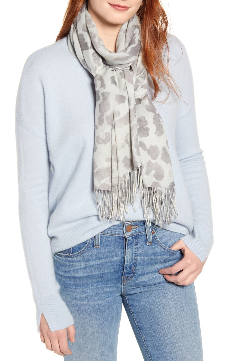 NORDSTROM Tissue Print Wool & Cashmere Wrap Scarf, Main, color, GREY SAFARI SENSE PRINT