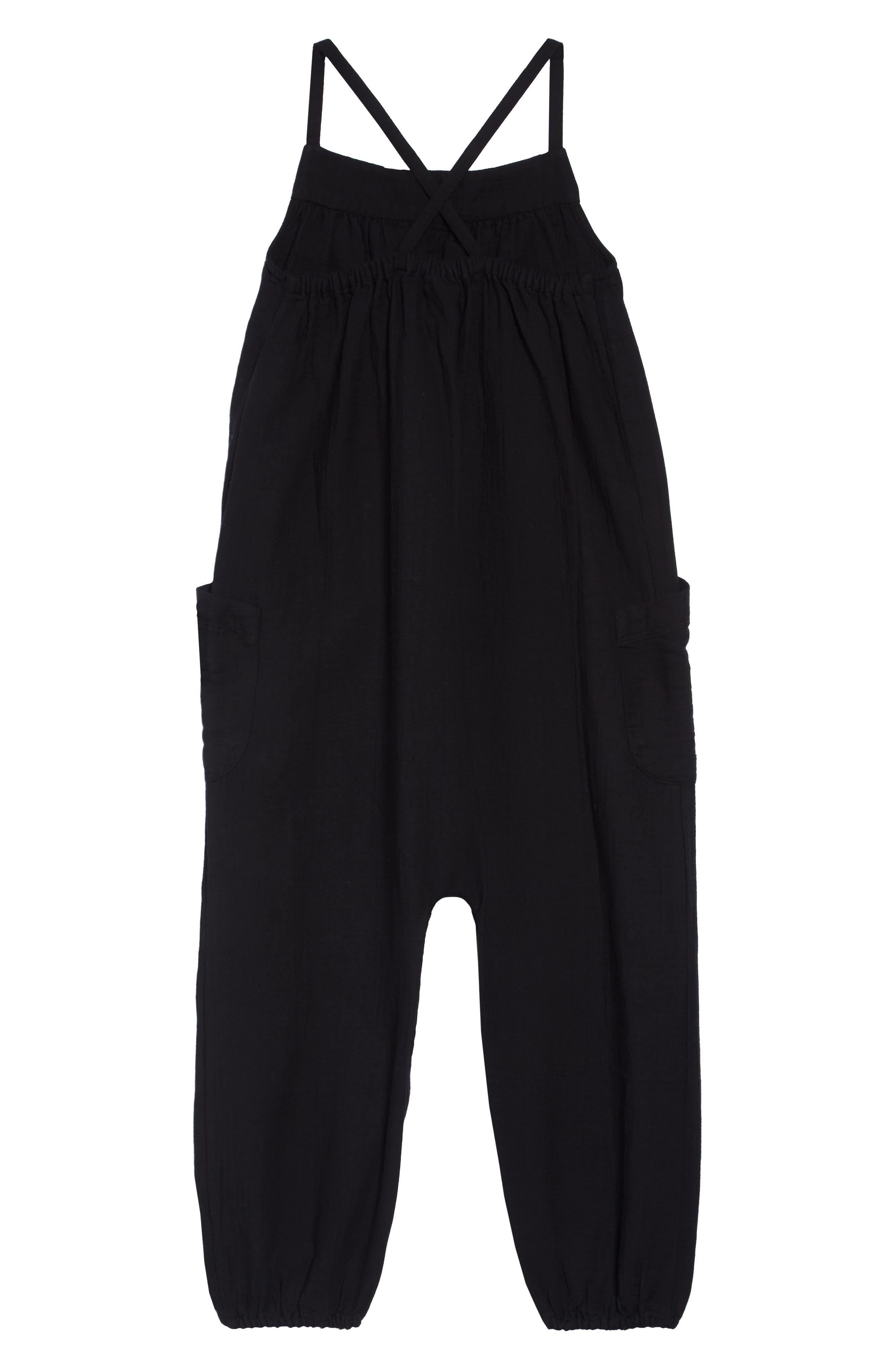 ,                             Cotton Jumpsuit,                             Alternate thumbnail 2, color,                             BLACK