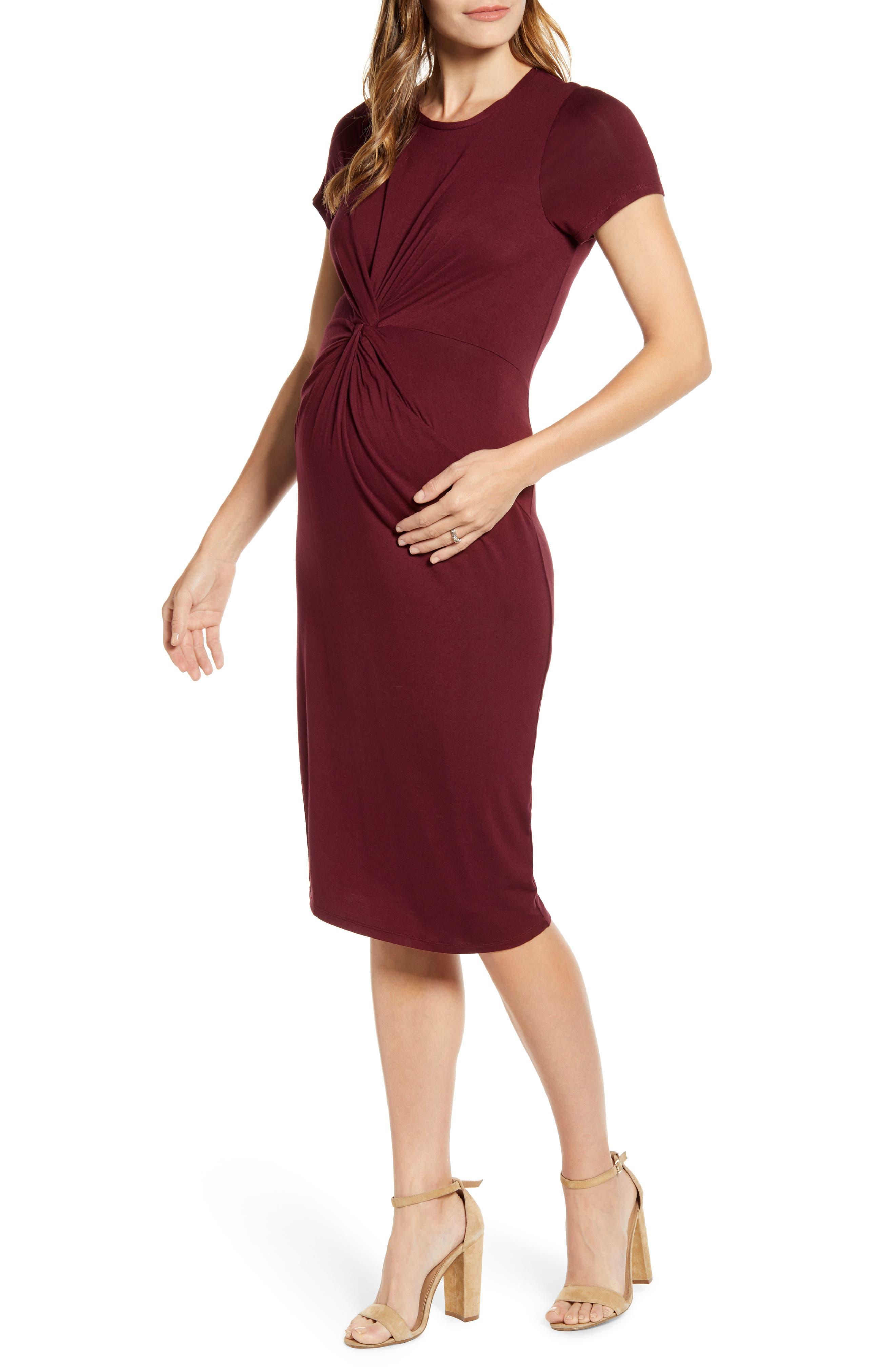 Fourteenth Place Knot Front Maternity Dress, Burgundy