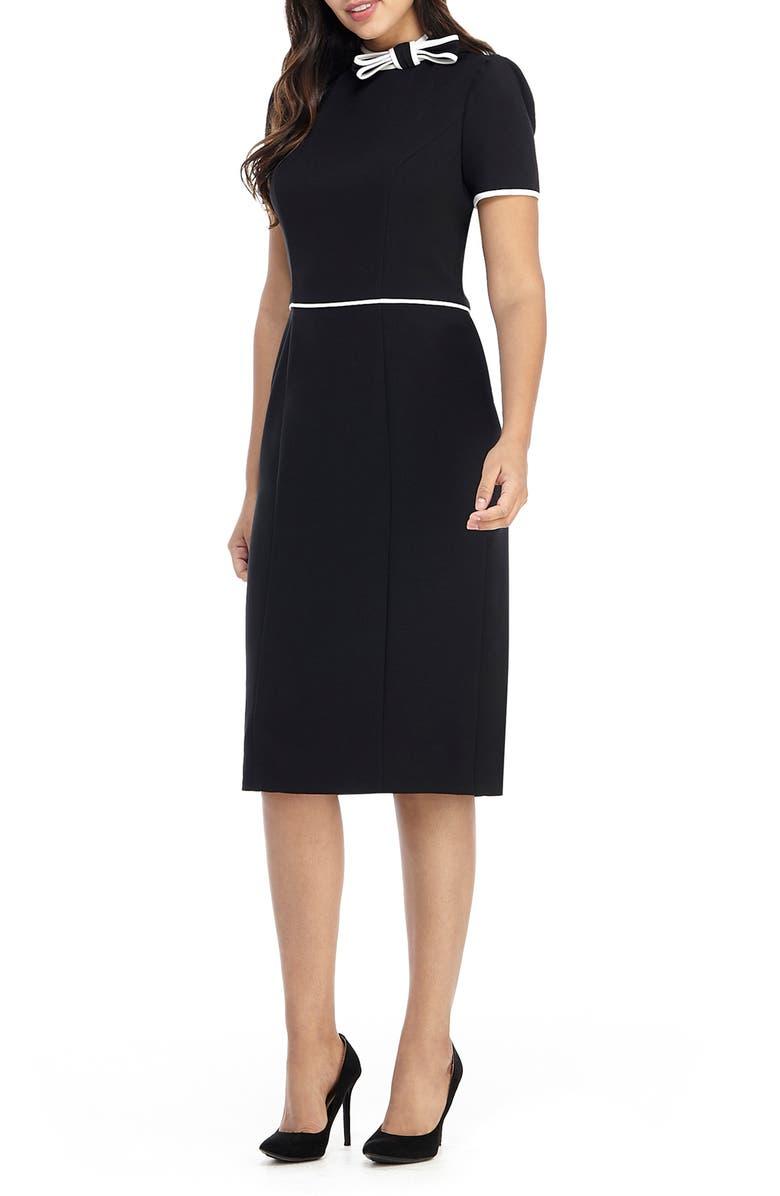 MAGGY LONDON Bow Neck Short Sleeve Sheath Dress, Main, color, BLACK