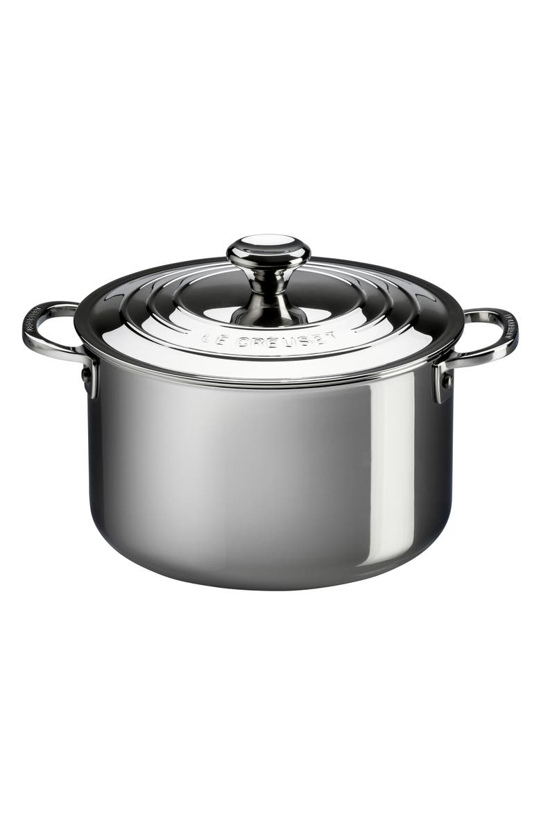 LE CREUSET 11-Quart Stainless Steel Stockpot with Lid, Main, color, STANLESS STEEL