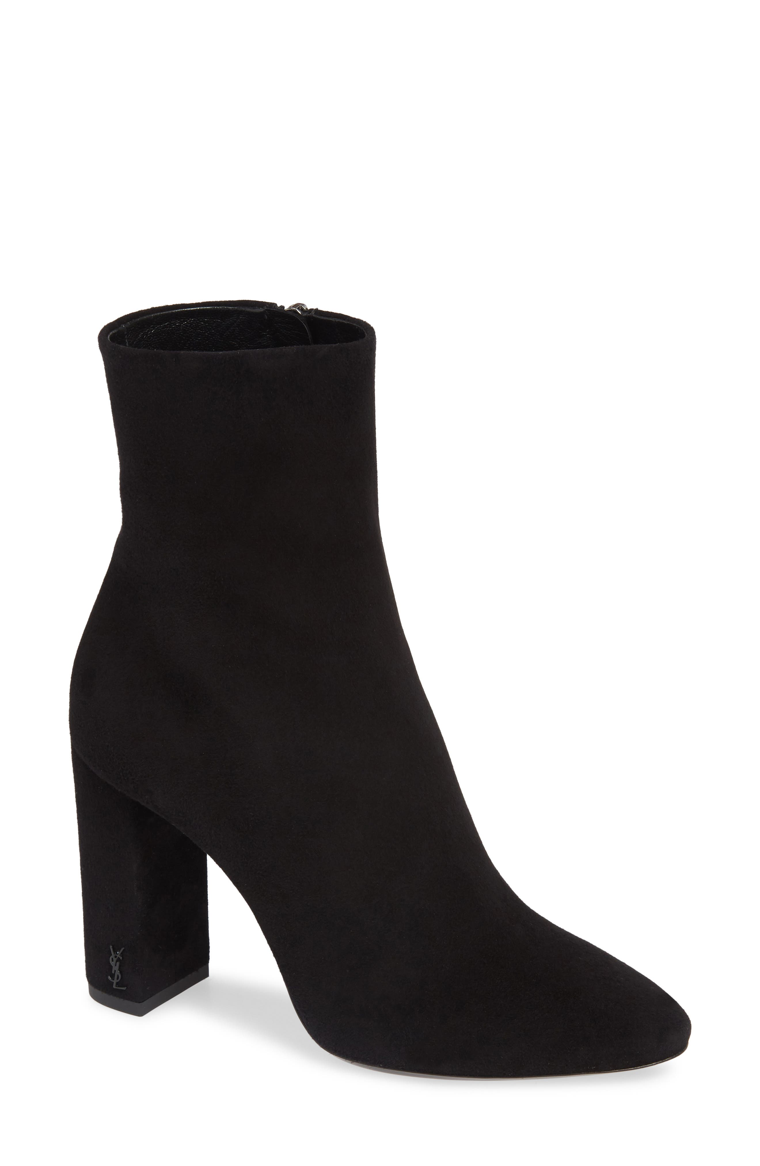 Saint Laurent Lou Almond Toe Boot, Black