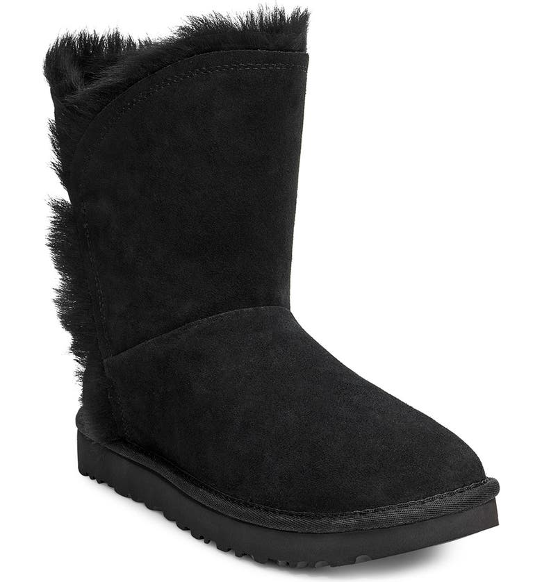 UGG<SUP>®</SUP> Classic Short Fluff High/Low Boot, Main, color, BLACK SUEDE