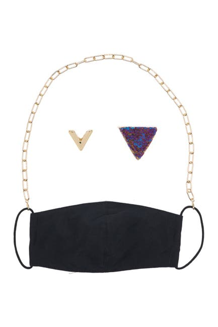 Image of Panacea Gold Chain Black Face Mask, Mask Chain, & Stud Earrings 3-Piece Set