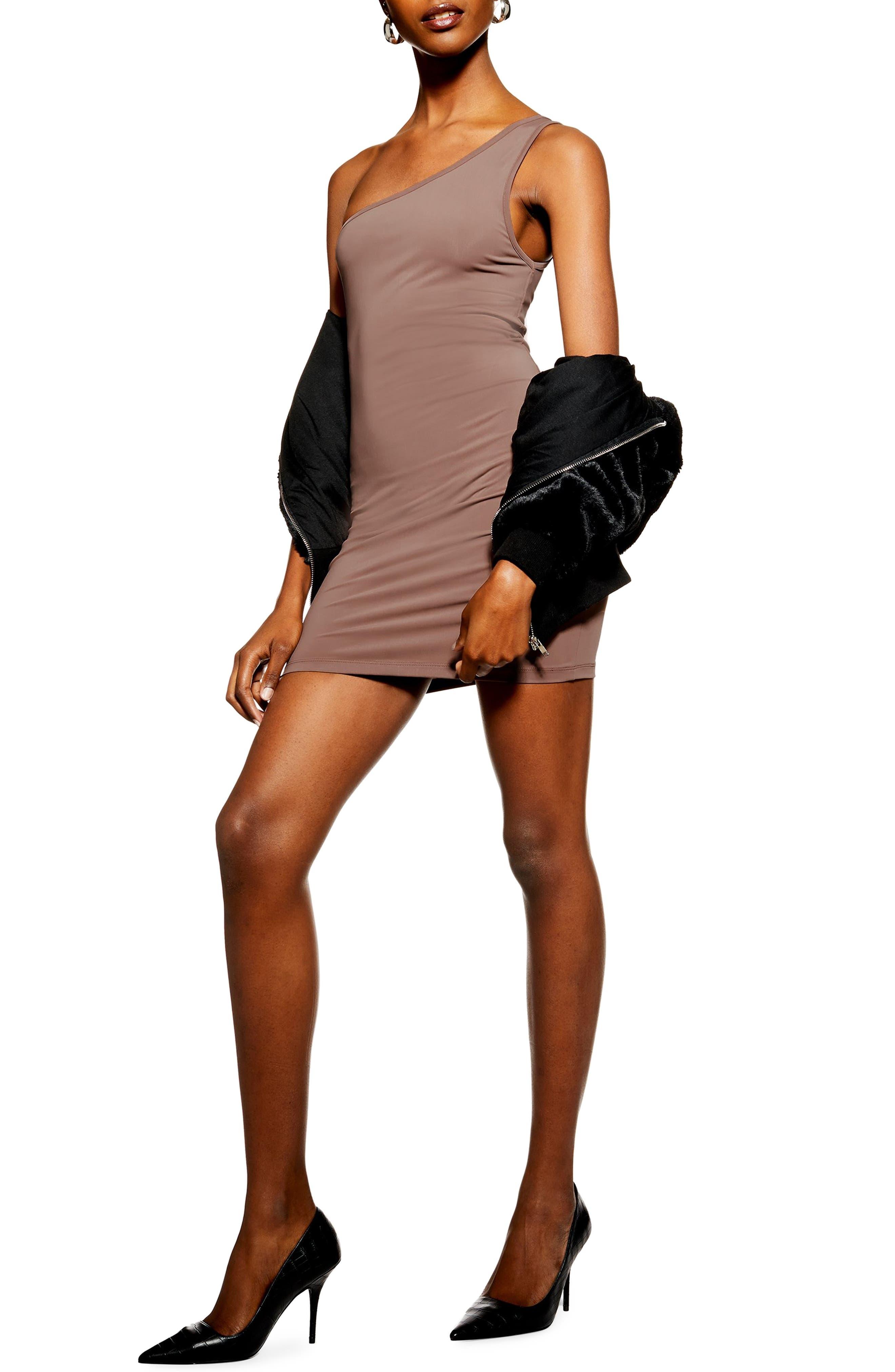 Topshop One-Shoulder Body-Con Minidress