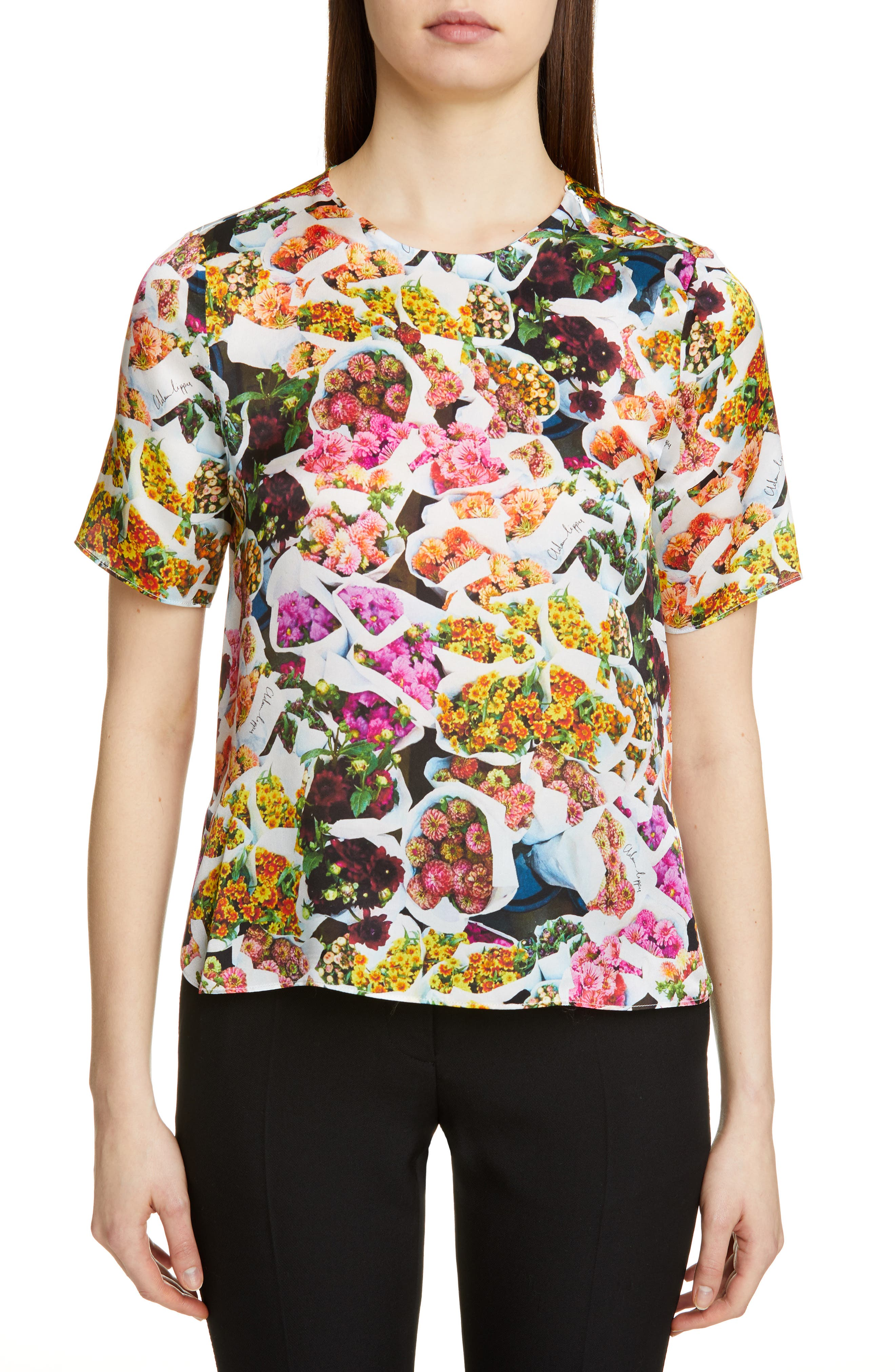 women's adam lippes floral print satin top