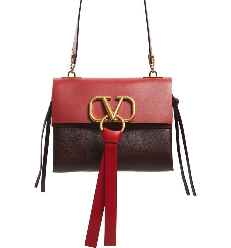 VALENTINO GARAVANI Small VRing Colorblock Buffalo Leather Shoulder Bag, Main, color, RUBIN/ ROCK PINK-CERISE/ ROUGE