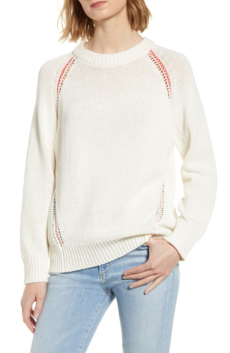NINETY PERCENT Contrast Stitch Slouchy Sweater, Main, color, 900