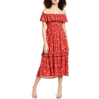 All In Favor Off The Shoulder Tiered Ruffle Midi Dress, Red