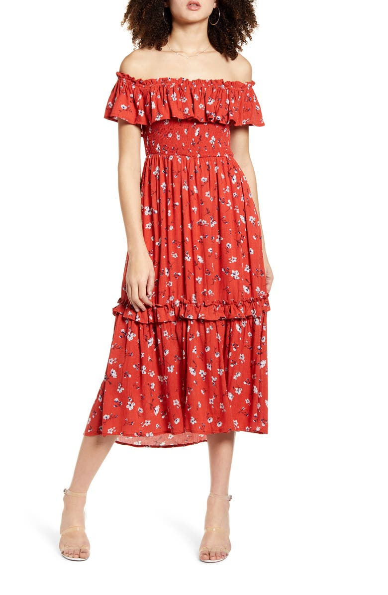 ALL IN FAVOR Off the Shoulder Tiered Ruffle Midi Dress, Main, color, RED FLORAL