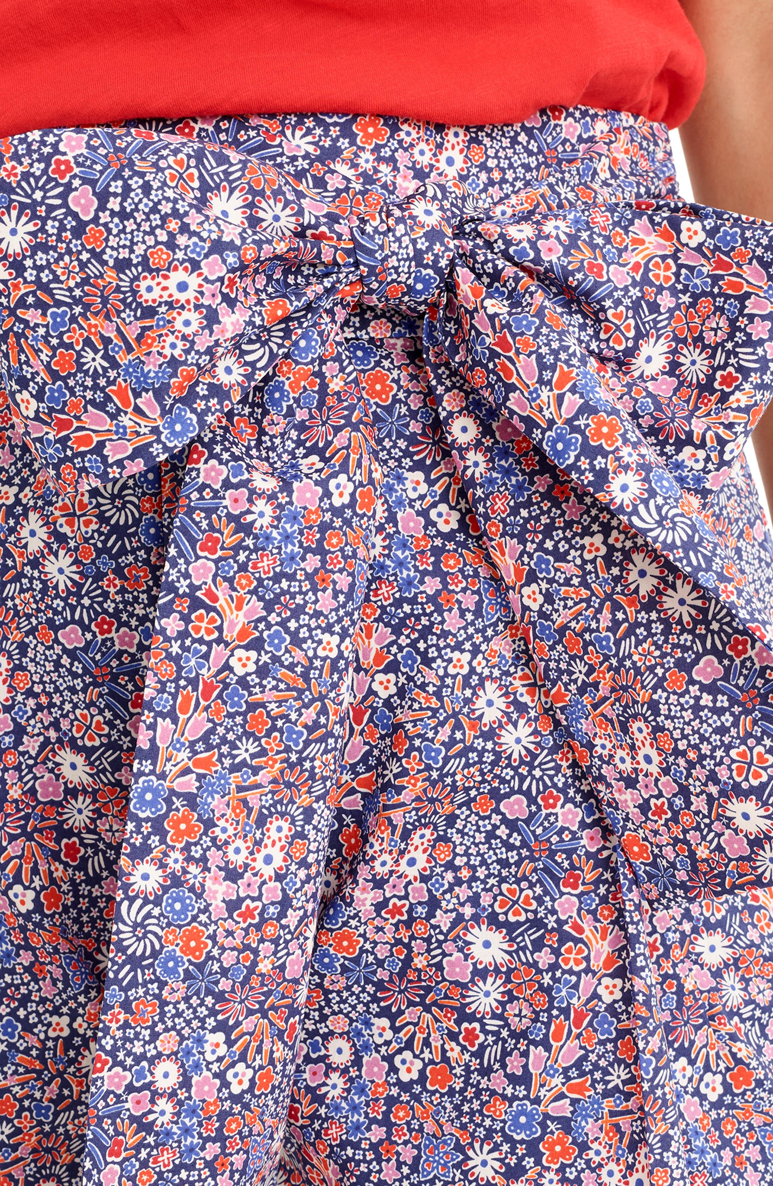 ,                             Liberty<sup>®</sup> Tana Lawn Tie Waist Shorts,                             Alternate thumbnail 4, color,                             DEEP BLUE MULTI
