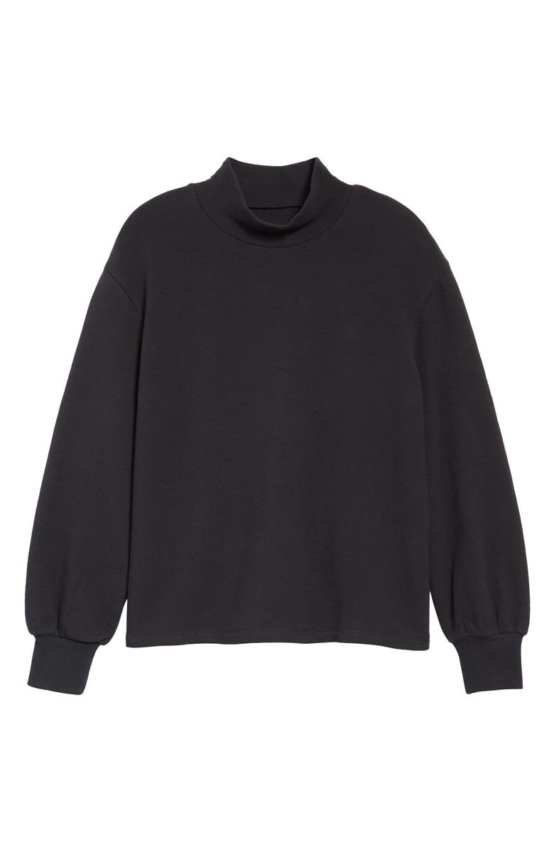 MADEWELL Mock Neck Bubble Sleeve Sweatshirt, Main, color, TRUE BLACK