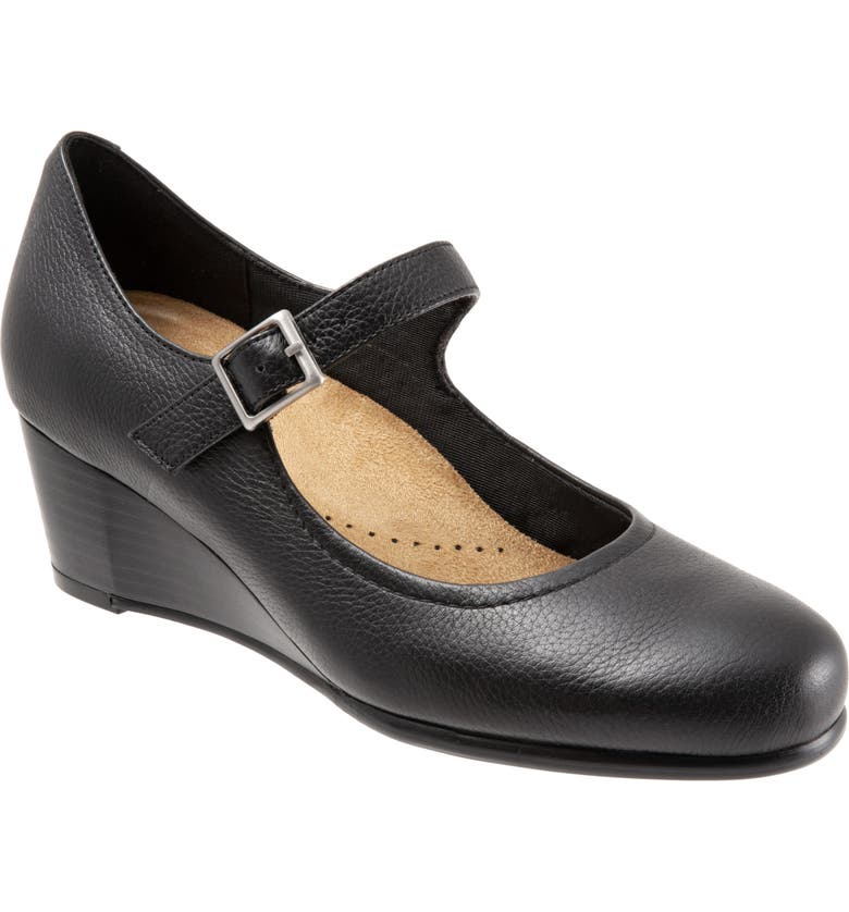 TROTTERS Willow Mary Jane Wedge Pump, Main, color, BLACK LEATHER