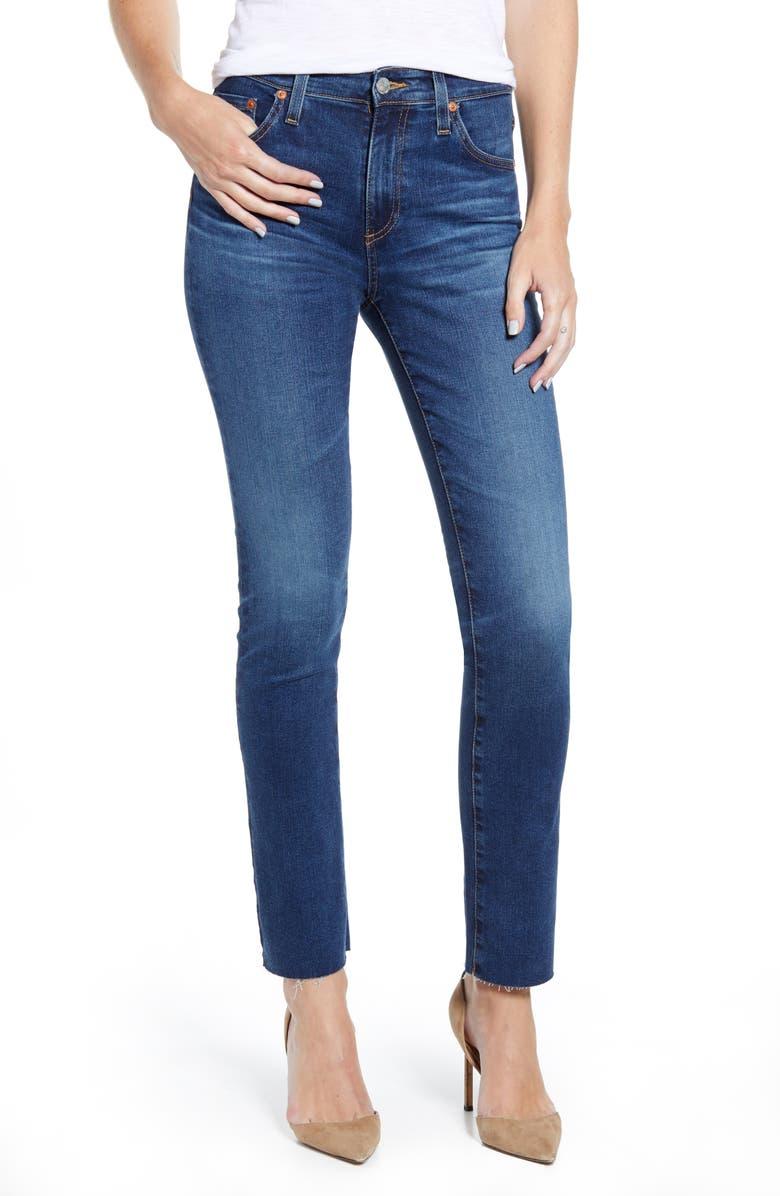 AG Mari High Waist Ankle Slim Straight Leg Jeans, Main, color, 462
