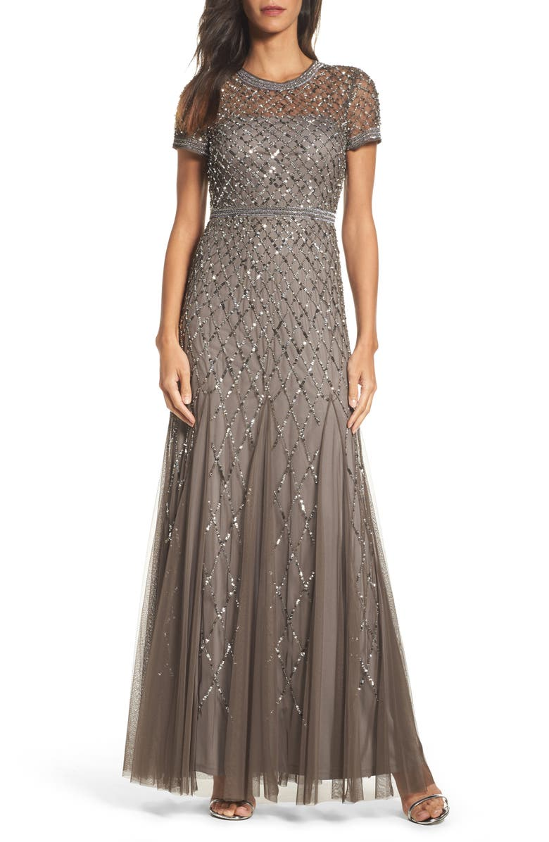 ADRIANNA PAPELL Beaded Mesh Gown, Main, color, 020