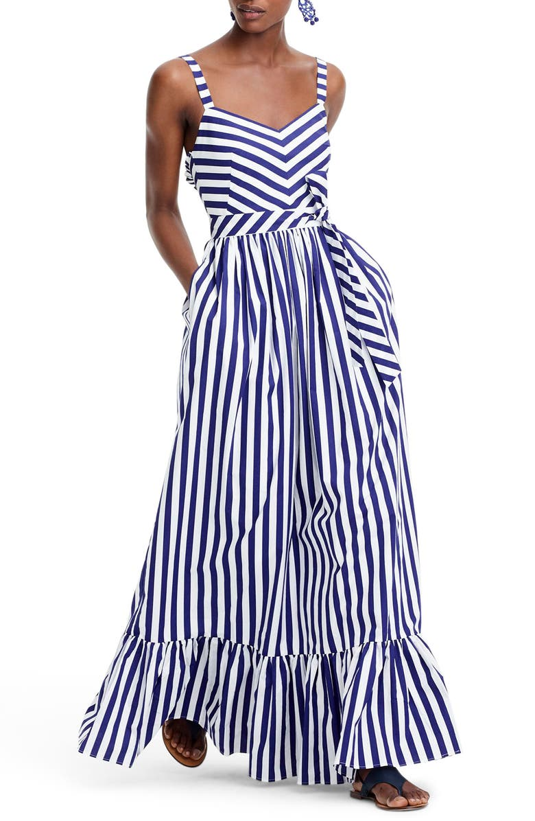 J.CREW Stripe Ruffle Cotton Maxi Dress, Main, color, 400