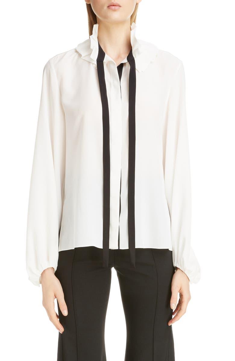 CHLOÉ Ruffle Tie Neck Silk Blouse, Main, color, ICONIC MILK