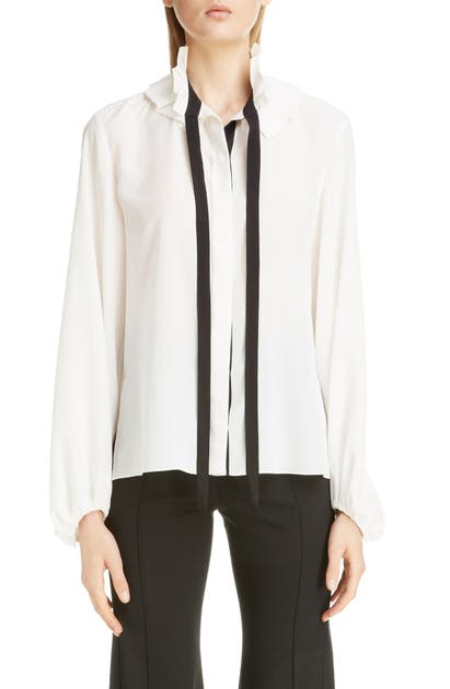 Chloé Tops RUFFLE TIE NECK SILK BLOUSE