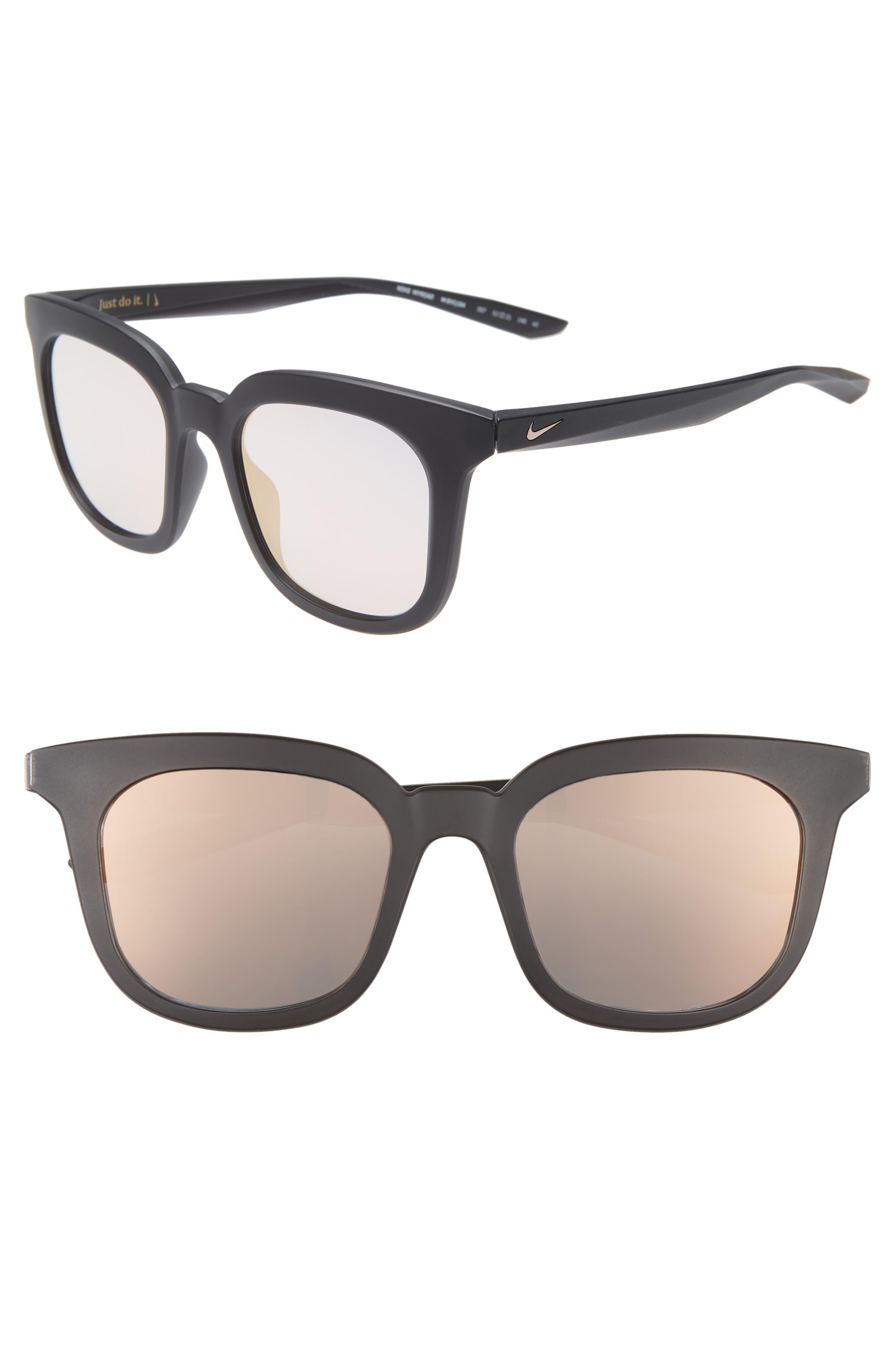 Nike Myriad 52Mm Mirrored Square Sunglasses - Matte Black/ Rose Gold