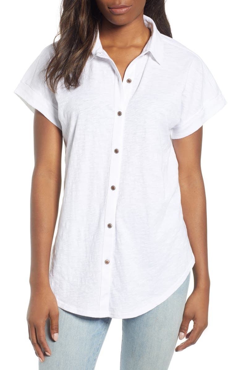 CASLON<SUP>®</SUP> Slub Jersey Camp Shirt, Main, color, WHITE