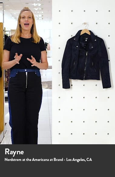 Quilted Panel Faux Suede Moto Jacket, sales video thumbnail