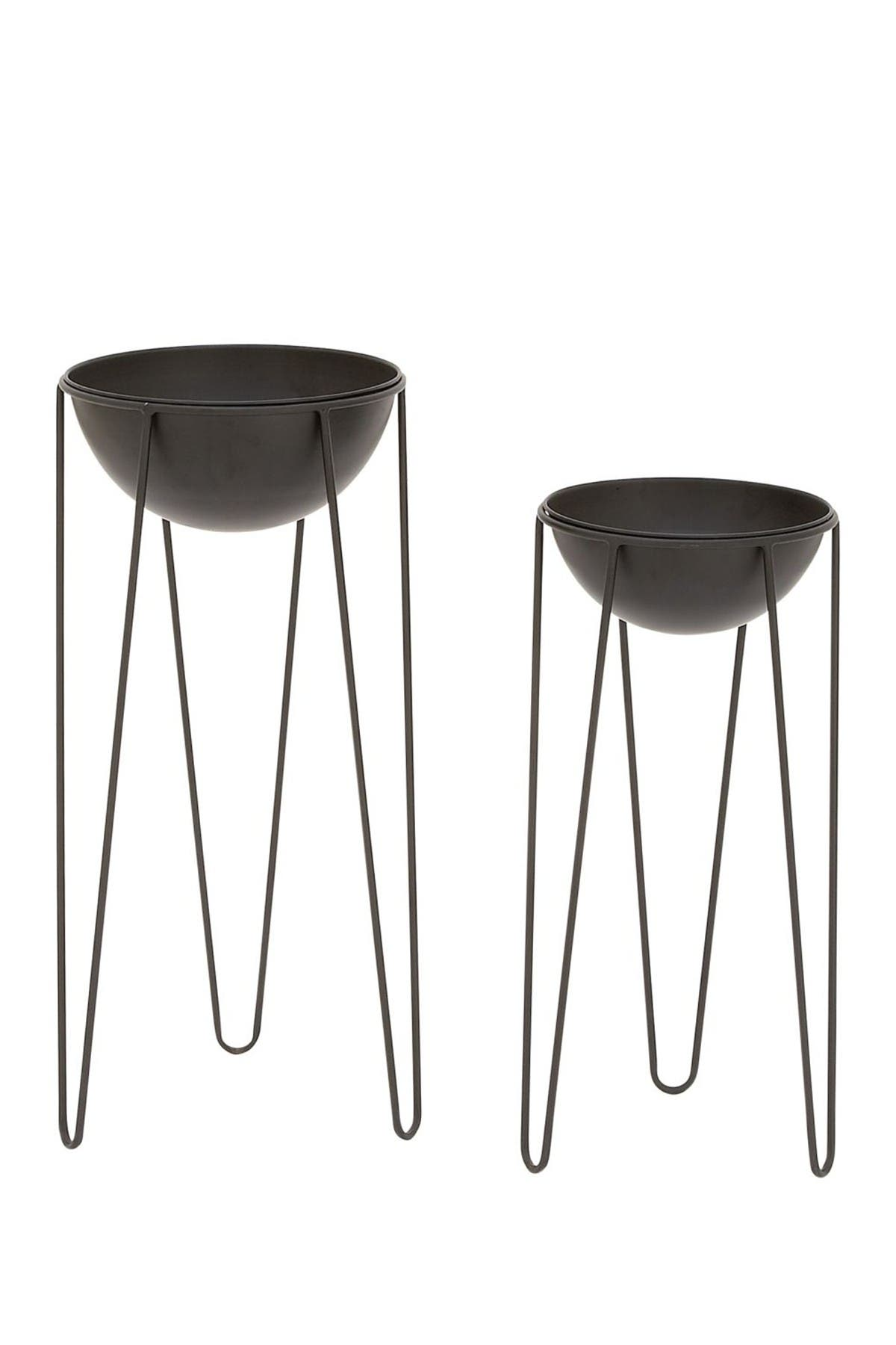 Image of Willow Row Black Modern Dome Planter - Set of 2