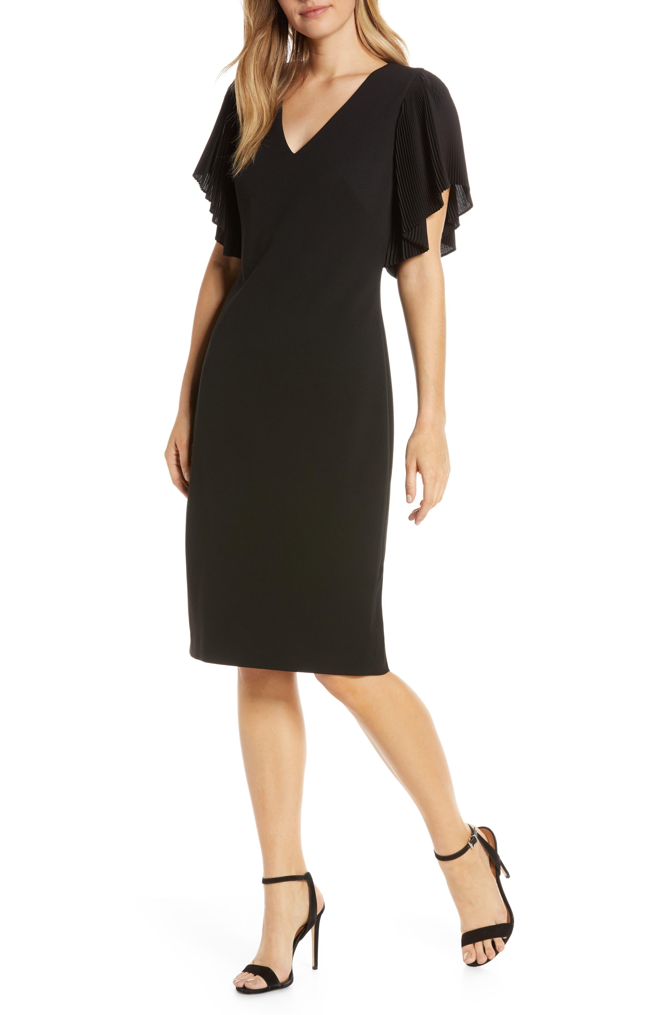 Eliza J Scuba Pleat Sleeve Dress, Black