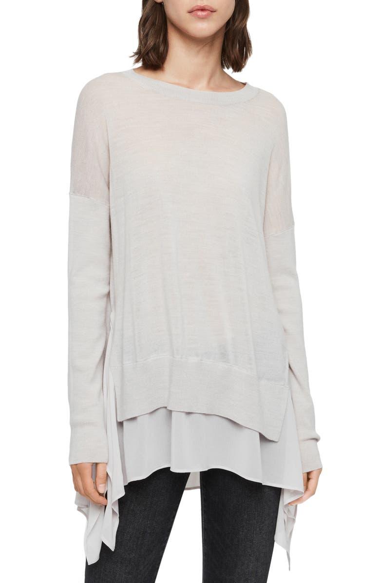 ALLSAINTS Libby Crewneck Sweater, Main, color, MILLET GREY MARL