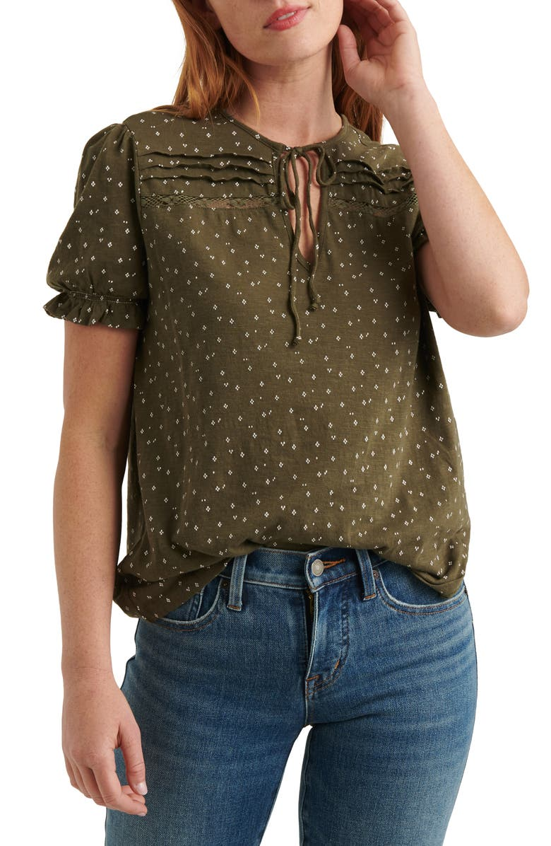 LUCKY BRAND Tie Neck Print Top, Main, color, 340