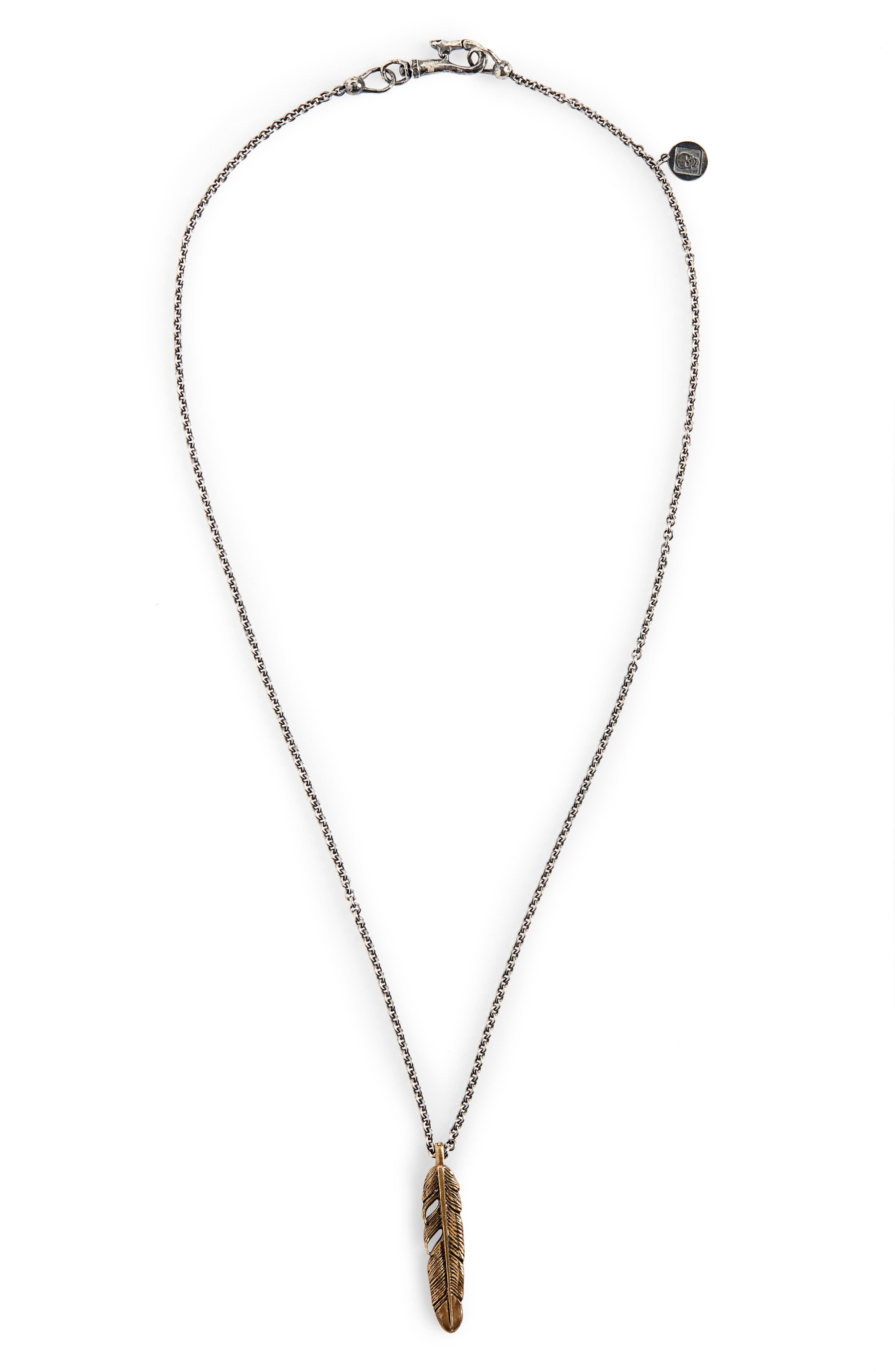 Single Feather Pendant Necklace