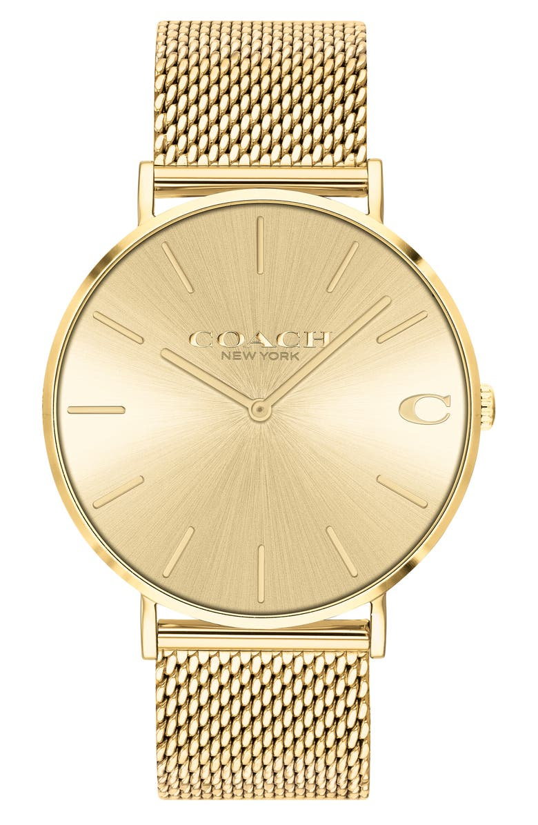 COACH Charles Mesh Strap Watch, 41mm, Main, color, Gold