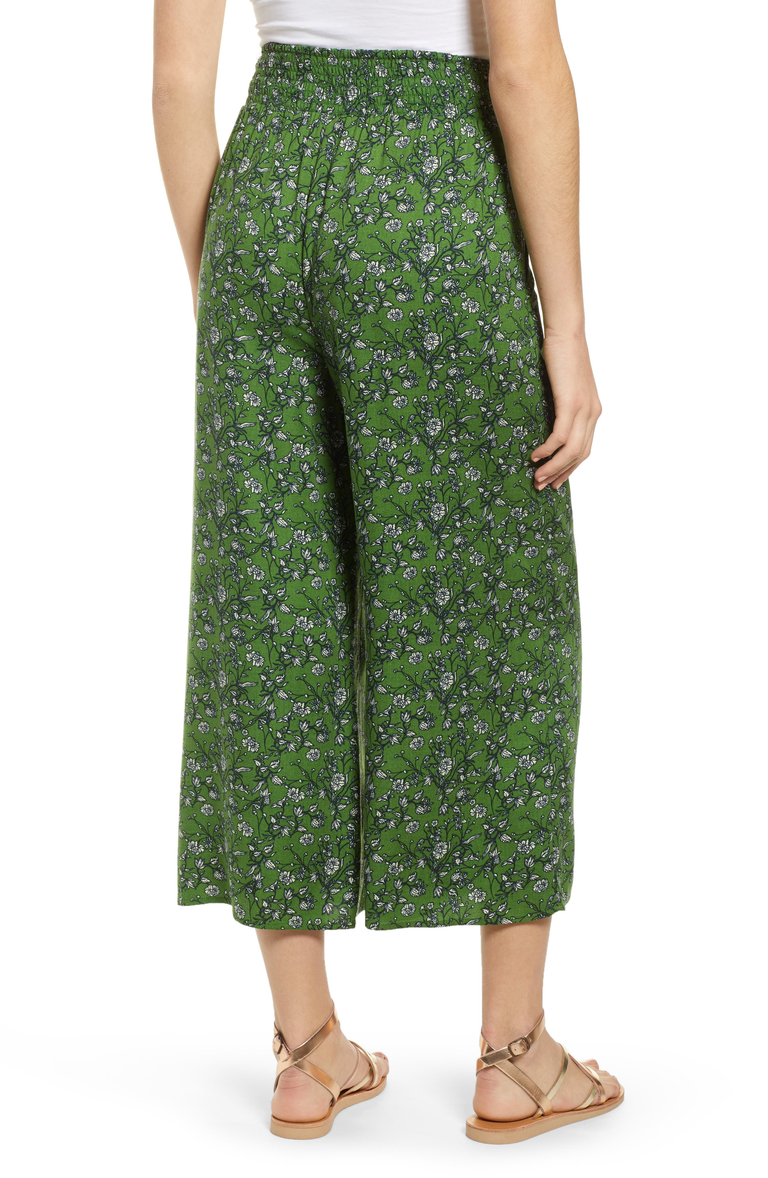 ,                             Print Wide Leg Crop Pants,                             Alternate thumbnail 2, color,                             GREEN CANOPY FLOWER BRANCHES