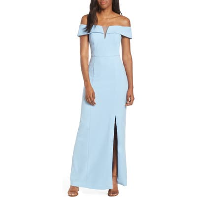 Petite Vince Camuto Notched Off The Shoulder Crepe Gown, Blue